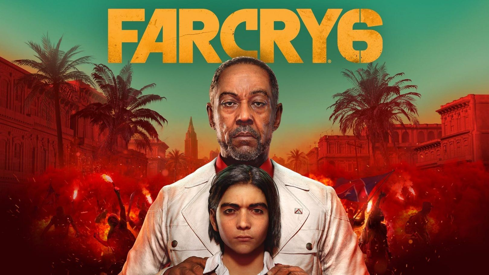 The logo for FAR CRY 6 at the top of the image. The main protagonist and his father standing in the middle. People are rioting behind them with a red hue.