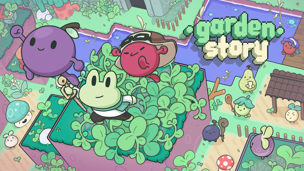 The logo of Garden Story in the top right corner, three of the characters jumping towards the screen: a grape, a frog with a sword and a small berry with a hat on.