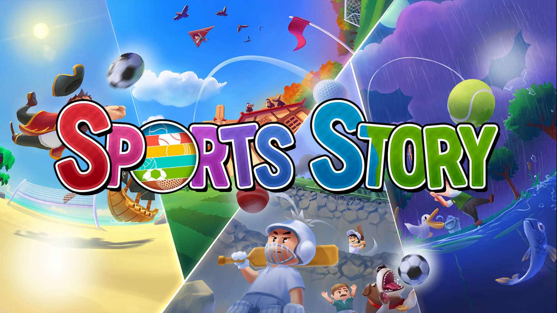 The logo of Sports Story in the middle with various sports shown behind: volleyball, hand gliding, golf, soccer, baseball, cricket, fishing and tennis.