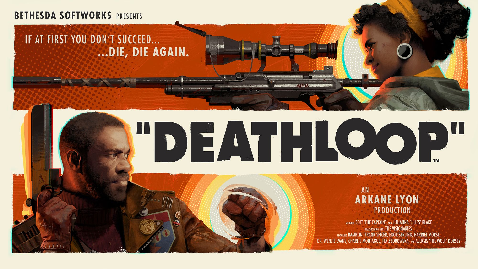 """Tthe logo / promotional information for the game Deathloop. """"If at first you don't succeed... die, die again""""."""
