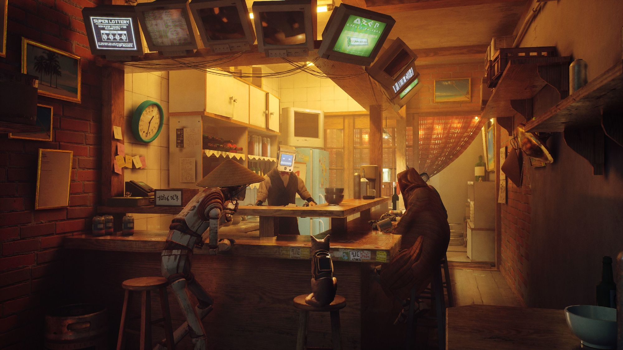 A small cat with a backpack on, sitting at a bar with two robots. The bar is a little worn down but feels a bit homey.