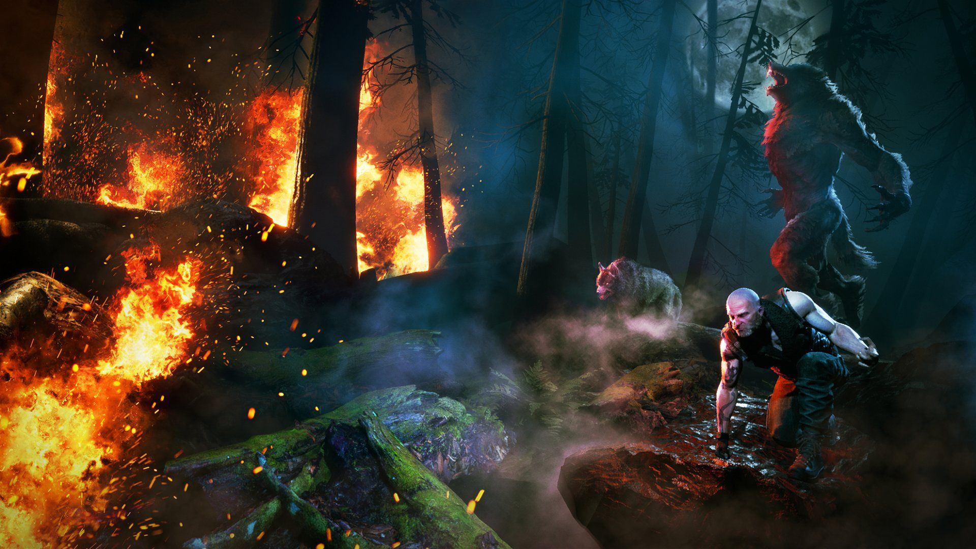 An image of a firey woods, with a man, a wolf and a werewolf standing and staring at it.